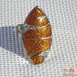 Bague en email orange réplable métal sans nickel