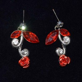 Boucle d'oreille strass rouge