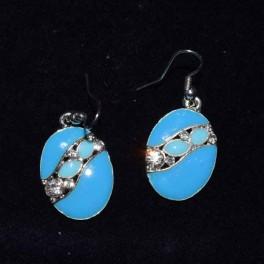 Boucle d'oreille métal bleu
