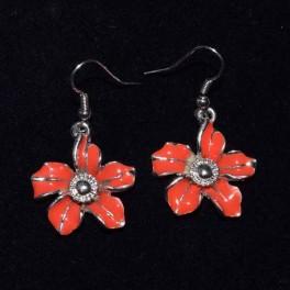 Boucle d'oreille métal fleur rouge