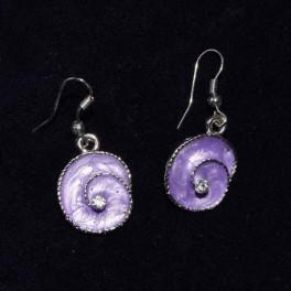 Boucle d'oreille métal violet et strass