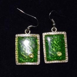 Boucle d'oreille métal verte