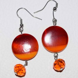 Boucle d'oreille résine orange