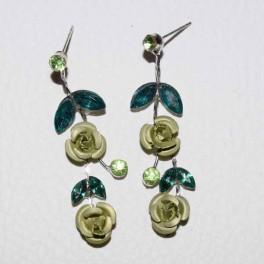Boucle d'oreille strass fleur verte