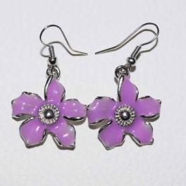 Boucle d'oreille fleur violette métal et strass
