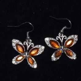 Boucle d'oreille métal orange et strass