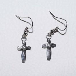 Boucle d'oreille croix métal