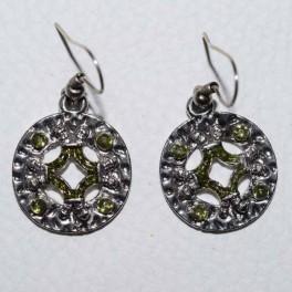 Boucle d'oreille métal et strass vert