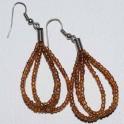 Boucle d'oreille perle marron