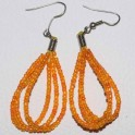 Boucle d'oreille perle orange