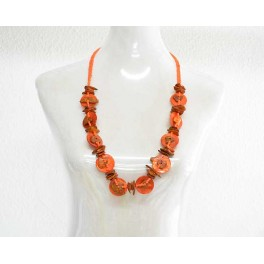 Collier Sautoir orange et Marron