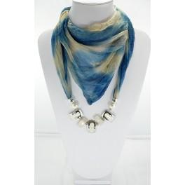 Collier foulard fantaisie bleu