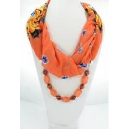 Collier foulard fantaisie orange à motif