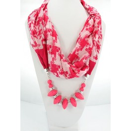 Collier foulard fantaisie fushia