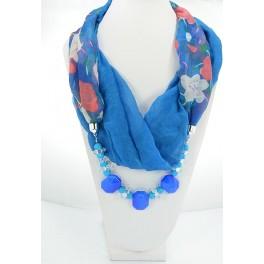 Collier foulard fantaisie bleu à motif