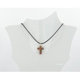 Collier croix résine marbre marron
