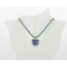 Collier coeur résine bleu